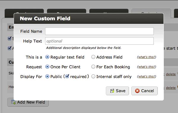 custom online bookings customer database