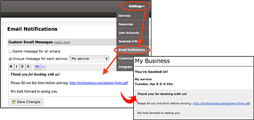 how to add a customized message to BookedIN client reminders
