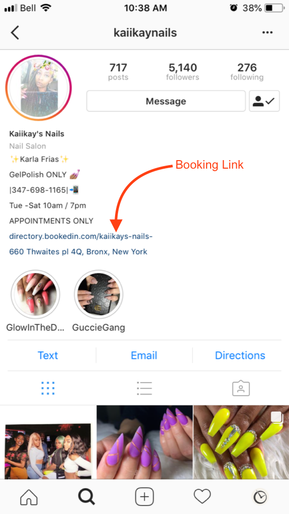 nail salon appointment scheduling in instagram