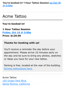 Screenshot of BookedIN appointment confirmation