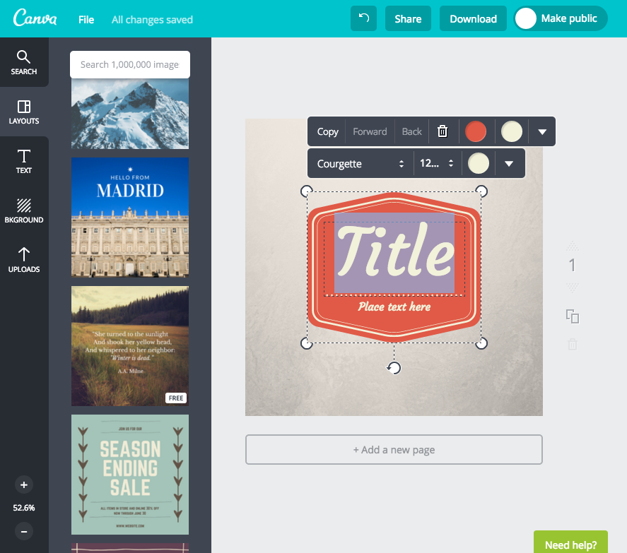 Screenshot of Canva