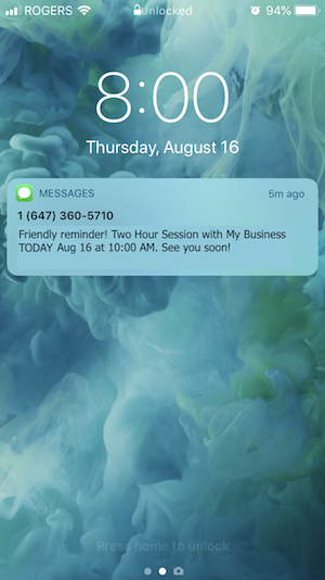 appointment text reminder SMS