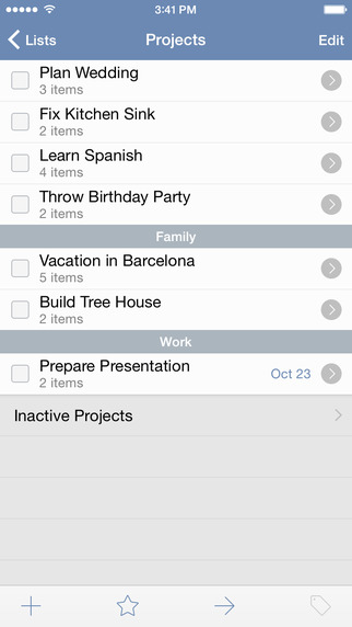 screenshot of things mobile app