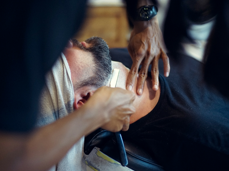 man getting a close shave