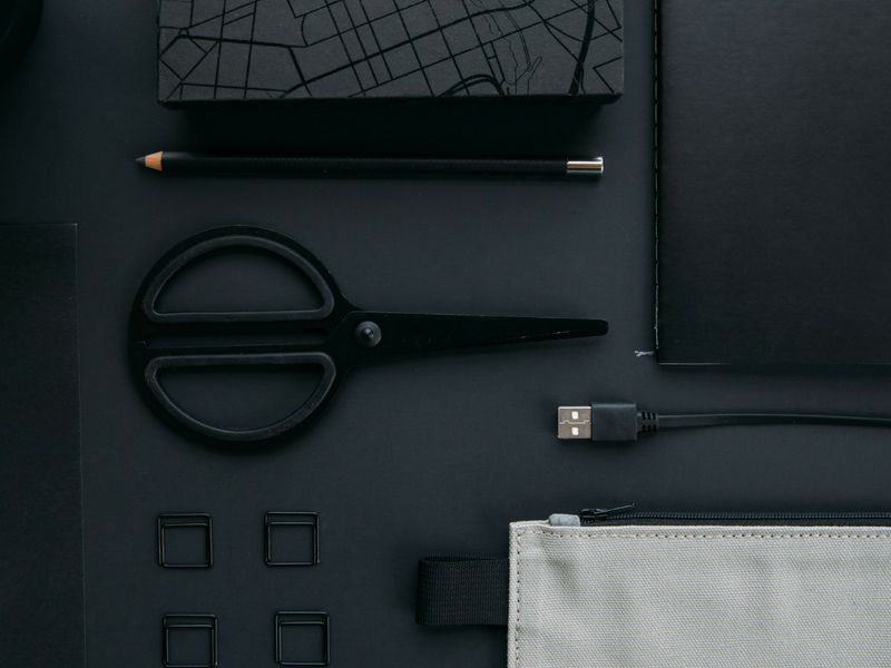flatlay picture of a desk set up