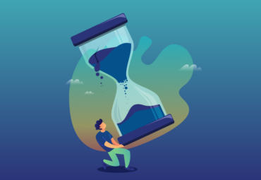 graphic man holding blue hourglass