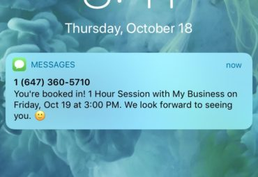 text message confirmation sent in bookedIN