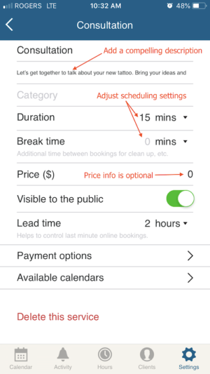 edit service information on scheduling app