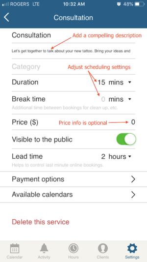 edit service information on scheduling app