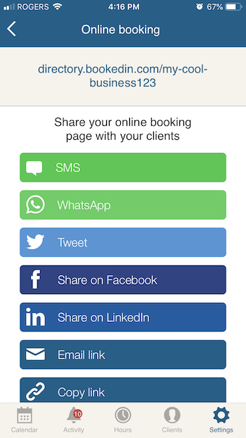 share your appointment booking page online