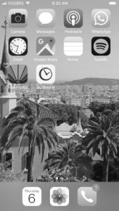 iPhone homescreen switched to grayscale