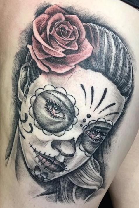 day of the dead leg tattoo by john hintz at warrior tattoo