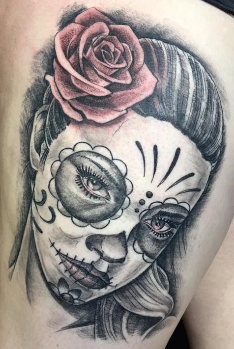 day of the dead leg tattoo by john hintz at warrior tattoo