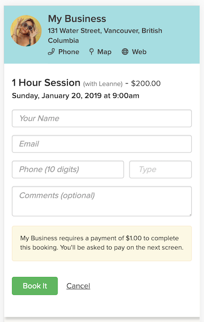online appointment scheduling page for clients