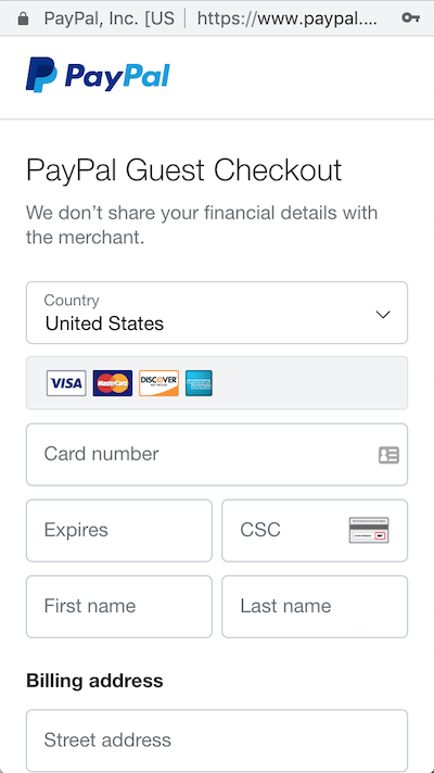 paypal guest checkout for online appointments with bookedin