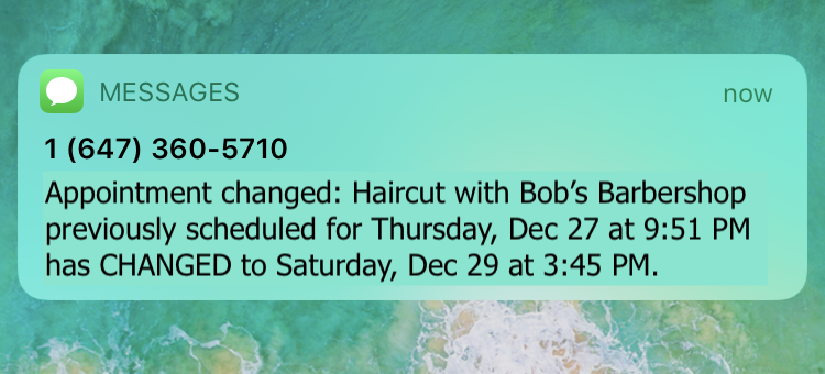 appointment changed or rescheduled text reminder