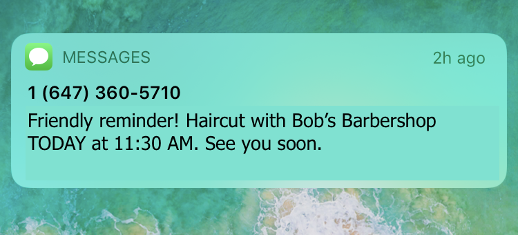 appointment reminder text message sample