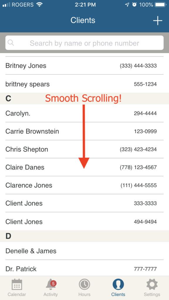 bookedin client list