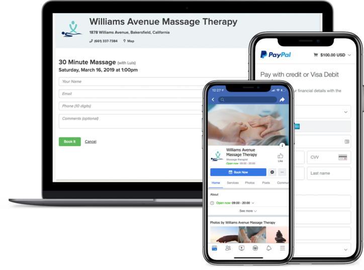 Massage therapy appointment booking app