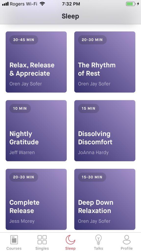 screenshot of 10% happier app sleep options