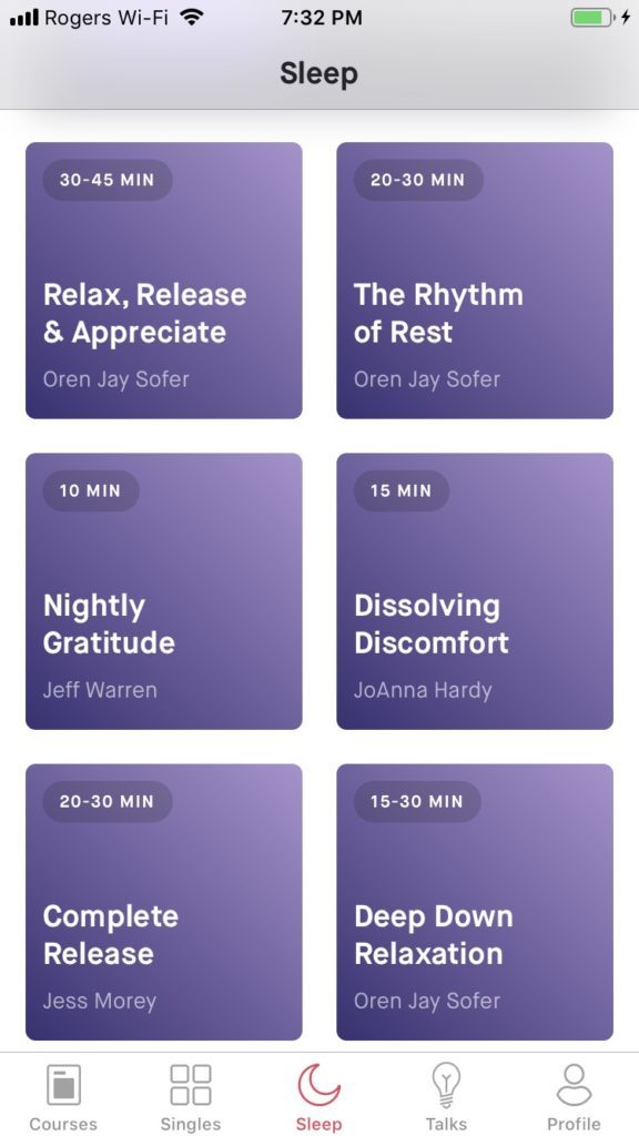 screenshot of 10% happier app sleep options