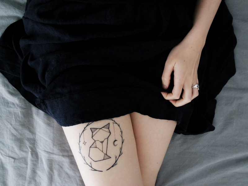 close up of a womans fox tattoo on her leg