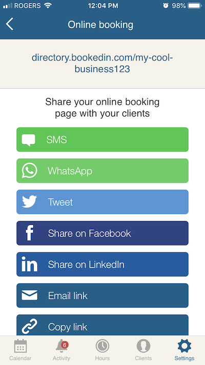 new share buttons for online appointment booking