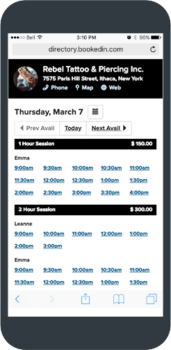 tattoo appointment scheduling app