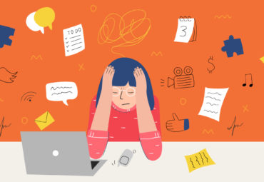 Woman being overwhelmed by multi-tasking