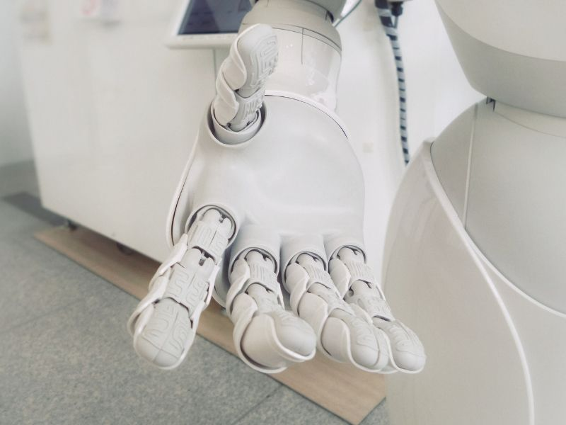 a robotic hand in close up automation