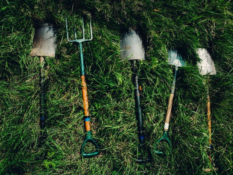 various shovels for digging laying on the grass