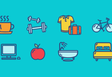 Daily routine icons graphics