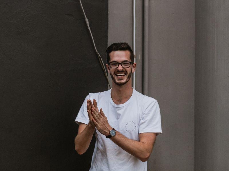 an entrepreneur laughing with joy