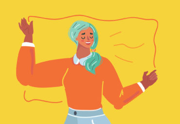 Cartoon drawing of woman setting boundaries at work