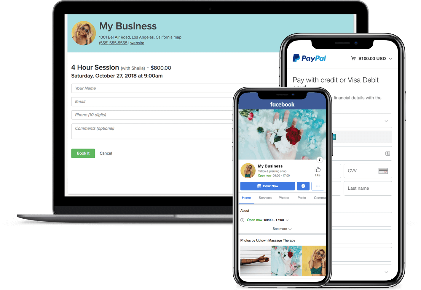 online appointment booking app with paypal and facebook