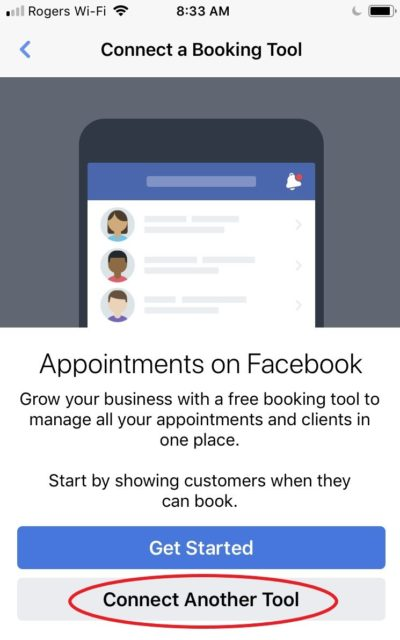 choose connect to another tool on facebook app
