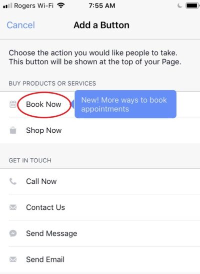 how to add a facebook booking button on mobile app