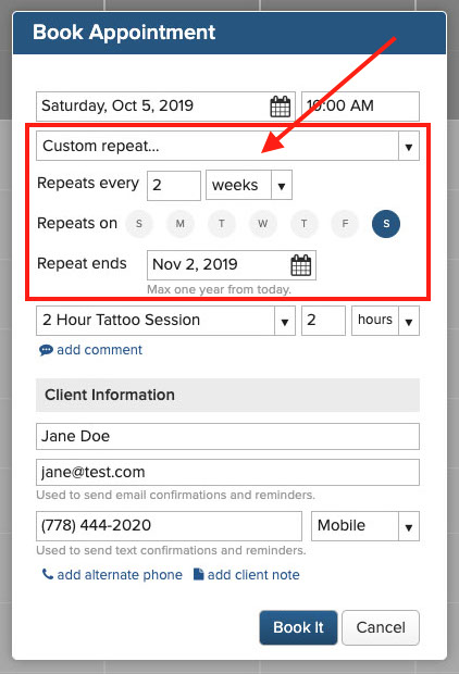 how to book recurring appointments online