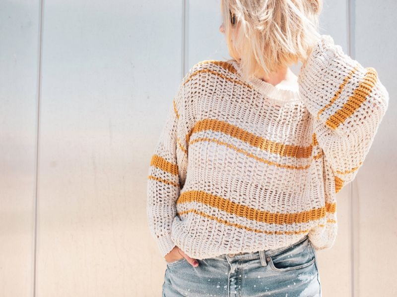 woman in a striped sweater
