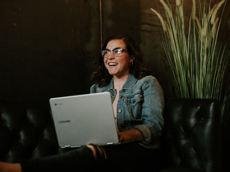 woman using laptop for automation