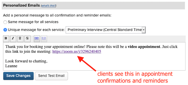 adding zoom link to online bookings