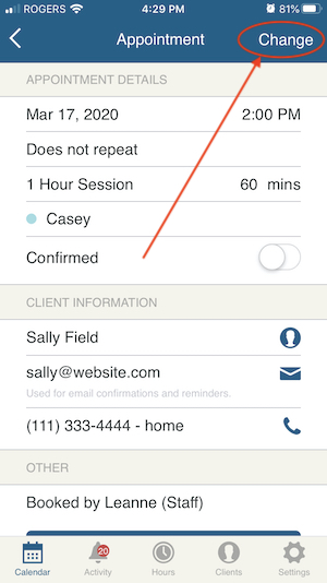 reschedule via appointment details