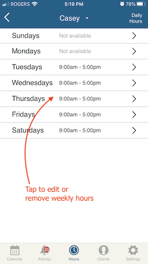 edit hours for the week in online appointment booking