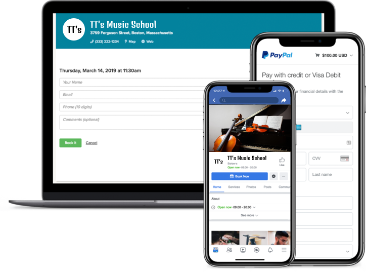 music lesson booking app