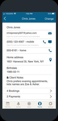 bookedin client list mobile view