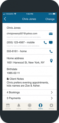 bookedin client list mobile view