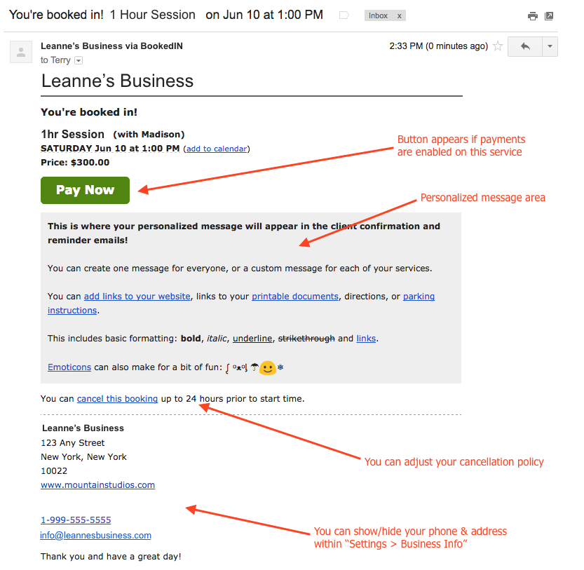 Bookedin confirmation of booking email