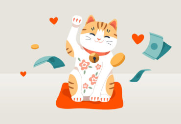A happy cat waving while sitting on an orange blanket. Money and hearts surround it