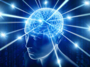 blue light beams coming from a brain