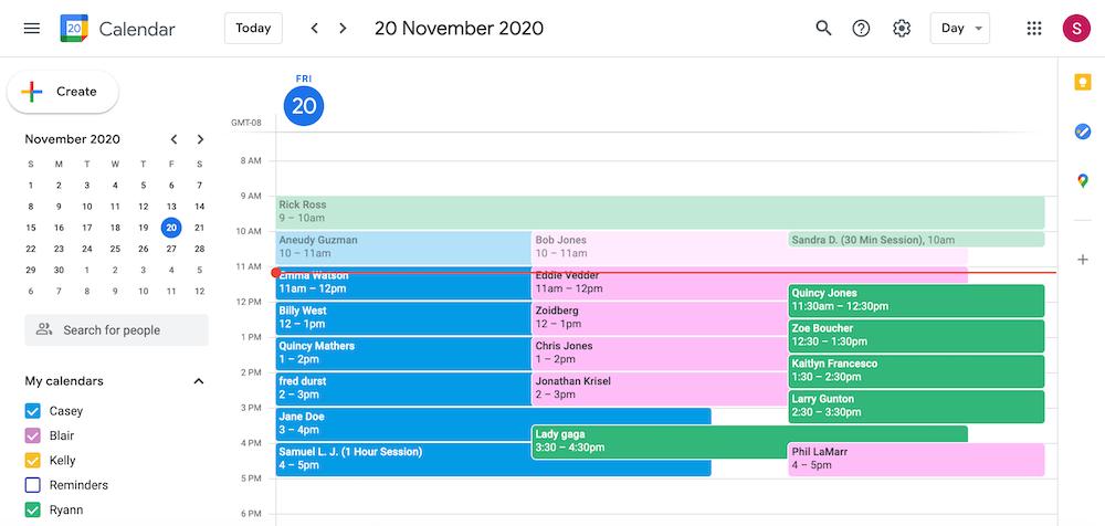 sample google calendar appointments screenshot
